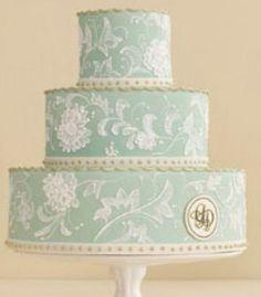 green wedgewood cake w/ monogram.  sooooooooo beautiful!