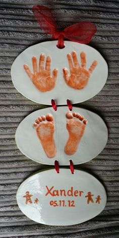 Ceramic hanger created from baby hand and footprints to go with gingerbread themed nursery! By masterpieces pottery Sheffield