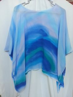 Hand Painted Silk Poncho Crepe' De Chine Silk by ColorsAndChords