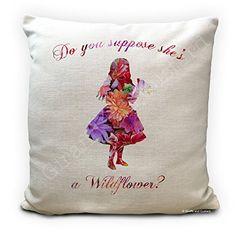 Alice in Wonderland Cushion Cover, Vintage Mad Hatter Tea Party, Home Decor Quote Do you suppose she's a wildflower - 16 inches by GiraffeandCustard on Etsy Alice In Wonderland Artwork, Alice In Wonderland Tea Party, Party Props, Party Themes, Party Ideas, Wild Flower Quotes, Home Decor Quotes, Mad Hatter Tea, Silhouette Design