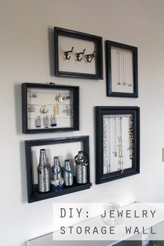 DIY Jewelry Storage Wall // Via The Thrifty Ginger