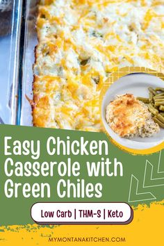 This easy keto casserole will remind you of your favorite enchilada recipe. This green chile chicken low carb casserole is filled with flavor! #greenchilechickencasserole #lowcarb #keto #ketocasserole #trimhealthymama