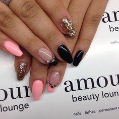 Uv manicure done by Alex! #amourbeautylounge #naildesigns #nailaddictions #blingnails #glitternails #gelpolish #swarovskinails