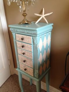Large Upcycled Jewelry Armoire Hand by ColorfulHomeDesigns
