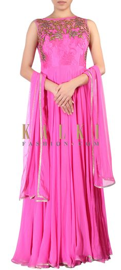 Buy Online from the link below. We ship worldwide (Free Shipping over US$100) http://www.kalkifashion.com/pink-anarkali-suit-featuring-in-kundan-embroidery-only-on-kalki.html