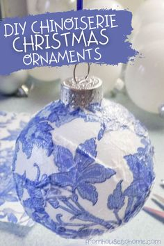 These blue and white Chinoiserie DIY Christmas ornaments are gorgeous! They're so easy to make and look beautiful with my blue and white Christmas tree.