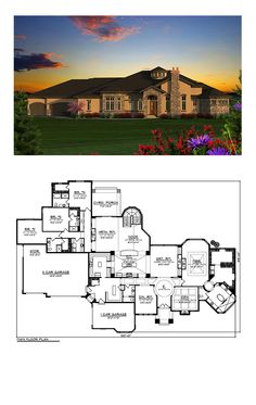 Italian House Plan 75228 | Total Living Area: 5230 sq. ft., 4 bedrooms and 4.5 bathrooms. #italianhome