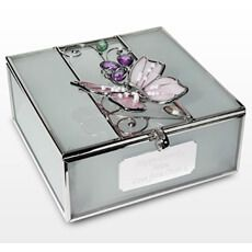 Personalised Butterfly Trinket Box This glass and wire trinket box can be personalised with any message over 3 lines and up to 20 characters per line. Lid is hinged with fasten to the front of the trinket. (Barcode EAN=5055325627734) http://www.MightGet.com/january-2017-13/personalised-butterfly-trinket-box.asp