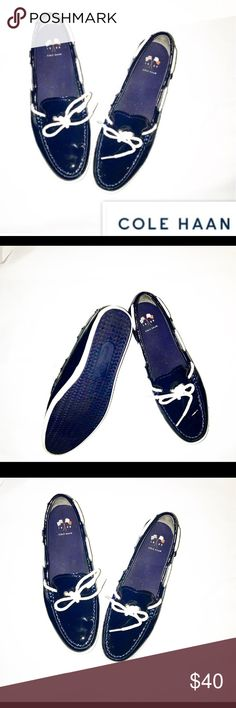 Cole Haan women's boat shoes in navy! Cole Haan women's boat shoes in navy!   Worn once, in like new condition.  Navy moc patent leather outer with white tie at toes.  Classic look, great style. Cole Haan Shoes Flats & Loafers