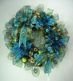 Peacock Blue Christmas Wreath By Ed The Wreath Guy