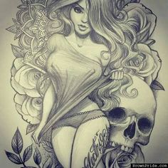 Beautiful Girl and Skull Drawing • Art and Graphics
