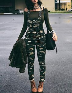 Shop Stylish Camouflage Pocket Front Overalls – Discover sexy women fashion at. Shop Stylish Camouflage Pocket Front Overalls – Discover sexy women fashion at IVRose Teenage Outfits, Teen Fashion Outfits, Edgy Outfits, Swag Outfits, Cute Casual Outfits, Outfits For Teens, Summer Outfits, Girl Outfits, Womens Fashion