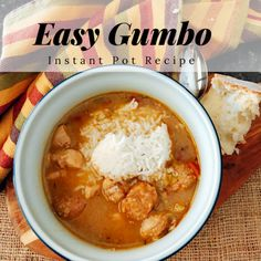 Easy Gumbo Recipe (Instant Pot version) This easy gumbo recipe is Cajun comfort food at its best. Made in less than 1 hour with a pressure cooker or Instant Pot. You'll love this NOLA classic Real Food Recipes, Soup Recipes, Healthy Recipes, Gumbo Recipes, Recipies, Drink Recipes, Easy Recipes, Instant Pot Pressure Cooker, Pressure Cooker Recipes