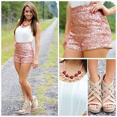 Fancy & Girly. Sparkly Pink High Wasted Short & Nude Wedges.