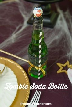 How to DIY a Zombie Princess Party Soda Bottle by The Party Teacher Zombie Princess, Princess Party, Baby Shower Parties, Baby Boy Shower, Halloween Kids, Halloween Party, Teacher Party, Zombie Party, Soda Bottles