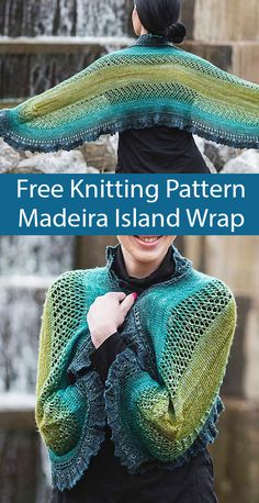 Free Knitting Pattern for Madeira Island Wrap - Oval-shaped shawlette or scarf, with lots of stockin Crochet Bolero Pattern, Knit Or Crochet, Lace Knitting, Double Knitting, Beginner Knitting, Easy Knitting Patterns, Shawl Patterns, Knitted Shawls, Oval Shape