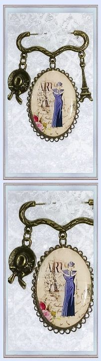 broche mode rétro jeune fille à Paris avec tour Eiffel et capeline ❄ 20,90 € ❄ Métal couleur bronze, Résine ❄ B347 ❄ #gabyféerie #bijoux #brocherétro #bijoumode #bijouparis #bijouxfaitmain ❄  recherche avancée à l'aide du titre et des critères choisis