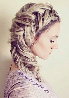 Huge oversized side braided hairstyle