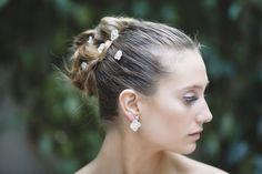 Quinteto de flores con perla de plata/ en plata u oro