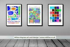 Posters of Milton Keynes by popular art-creative, Robert Rusin.