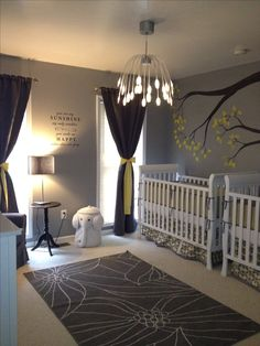 Our boy/girl twin nursery. Grey, yellow, and white.