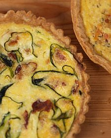 bacon and zucchini quiche recipe is courtesy of Elisabeth Prueitt - yum-yum! Made it with a different tart dough (had Parmesan in it). I love cheese, so I put more in it!