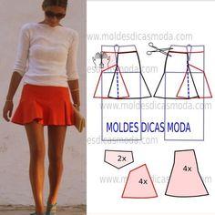 Analise a execução do molde de saia panos que está explicada com grande rigor, em pormenor no desenho, para que concluam a modelagem da saia com facilidade.: