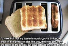 life hacks, two slices of bread in one slot
