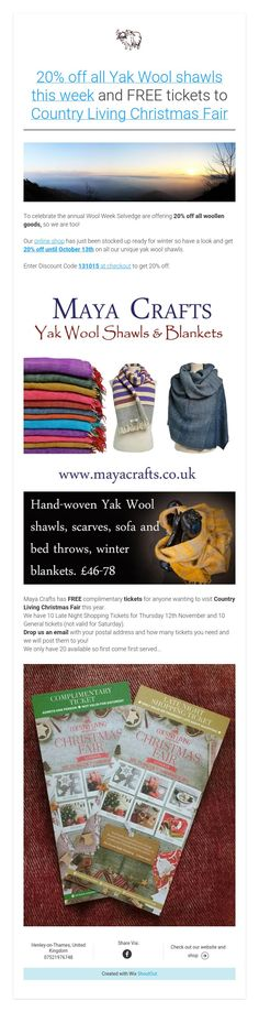 off all Yak Wool shawls this week and FREE tickets to Country Living Christmas Fair Country Living Christmas Fair, Sofa Bed Throws, Free Tickets, Winter Blankets, Shawls, Hand Weaving, Textiles, Wool, Crafts