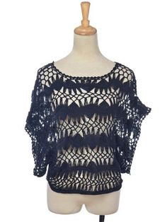 Anna-Kaci S/M Fit Decorative Black Abstract Cut Out Pattern Crochet Blouse Top Anna-Kaci. $24.90