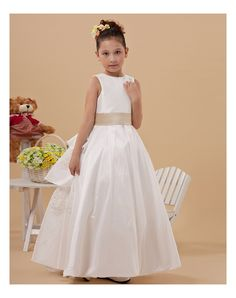 6053b0e2a76f Ball Gown Ankle-Length White Taffeta Jewel Flower Girl Dress Cute Girl  Dresses