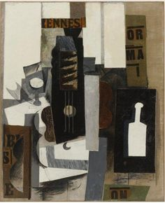 Glass, Guitar, and Bottle Pablo Picasso Art Print Poster Museum Painting Pablo Picasso, Art Picasso, Picasso And Braque, Alberto Giacometti, Cubist Art, Abstract Art, Rene Magritte, Georges Braque Cubism, Avantgarde