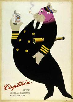 Captain Walrus by Herbert Leupin Vintage Advertisements, Vintage Ads, Vintage Posters, Retro Poster, Poster Ads, Modern Graphic Design, Graphic Design Illustration, Collages, Pop Art