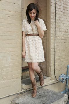 cowboy boots with dresses and pair it up with a denim jacket.