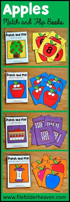 These Apple Themed Match and Flip Books focus on basic matching skills.  Match and flip books include big pieces for little hands.  Four complete books are included in this set.
