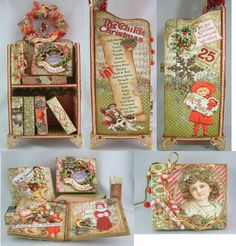 """Christmas Bookshelves and Mini Books - To see more of my art, signup to win my art, download free images, and learn new techniques checkout my Blog """"Artfully Musing"""" at http://artfullymusing.blogspot.com"""