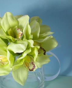Green cymbidium wedding bouquet