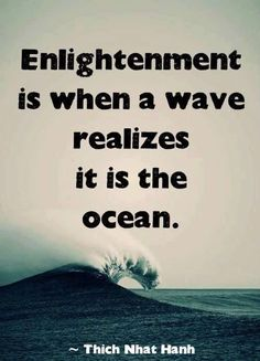 Enlightenment is when a wave realizes it is the ocean. Thich Nhat Hanh