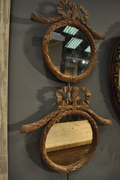 Pair of Antique French Louis XVI Wooden Mirrors with Carved Bow Detail. Circa 1900