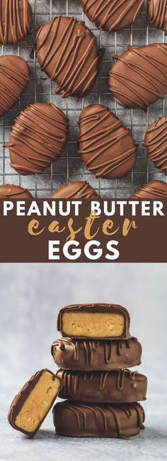 Butter Easter Eggs - Deliciously thick and creamy egg-shaped peanut butter truffles that are made with crunchy peanut butter for added crunch and coated in melted chocolate. The perfect Easter treat! Peanut Butter Dessert Recipes, Peanut Butter Truffles, Peanut Butter Eggs, Candy Recipes, Chocolate Peanut Butter, Chocolate Recipes, Melted Chocolate, Sweet Recipes, Chocolate Brownies