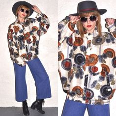 80s Silk Puffy Bomber Abstract Graphic Versace Style Coin Jacket Windbreaker