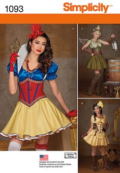 Simplicity 1093 or S0679 Misses' Cosplay Costumes Snow White Tinkerbell Belle…