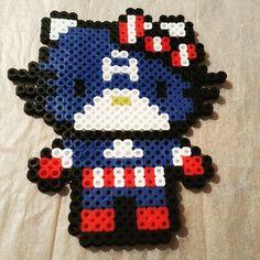 Captain America Hello Kitty perler beads by angel_kisses69