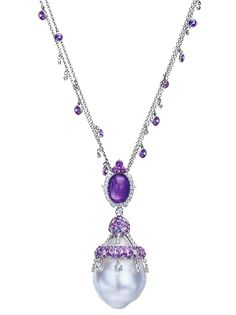 Cellini Jewelers Baroque Pearl, Purple Sapphire and Amethyst Necklace. Double-strand gold chain with bezel-set purple sapphires and diamonds, dropping to a cabochon amethyst, and large baroque pearl encrusted with purple sapphire pavé and white diamond briolettes; in 18-karat white gold.  Diamond weight: approximately 2.31 carats total. Purple sapphire weight: approximately 20.42 carats total