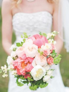 Pretty pink and white peony bouquet.