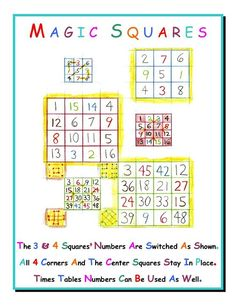 MAGICAL MATH FOR GRADE 4 Magic Squares have a long and interesting history. Waldorf Math, Steiner Waldorf, Math Help, Fun Math, 4th Grade Math, Grade 2, Homeschool Math, Curriculum, Magic Squares