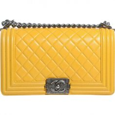 Pre-owned Chanel Boy Leather Handbag ($3,975) ❤ liked on Polyvore featuring bags, handbags, women bags handbags, yellow, genuine leather handbags, real leather handbags, genuine leather purse, man bag and real leather purses