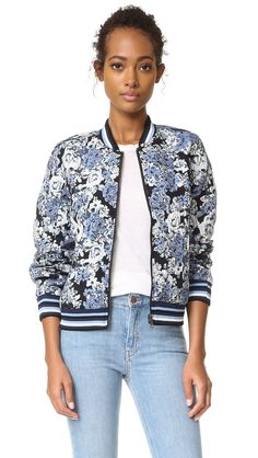 ¡Cómpralo ya!. Blank Denim Floral Bomber Jacket - Most Wanted. A reversible floral jacquard Blank Denim bomber jacket, detailed with striped banding at the edges. Exposed zip closure. Snap welt pockets. Lined. Fabric: Jacquard. Shell: 100% polyurethane. Lining: 72% polyester/26% cotton/2% spandex. Wash cold. Imported, China. Measurements Length: 22.75in / 58cm, from shoulder Measurements from size S. Available sizes: L , chaquetabomber, bómber, bombers, bomberjacke, chamarrabomber…