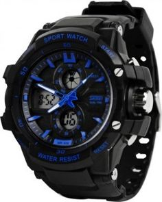 Key Features of Skmei 0990BLU Rugged Analog-Digital Watch - For Men, Boys Rugged Watch With Dual Time Stop Watch Count Down Timer Back Light Durable Specifications of Skmei 0990BLU Rugged Analog-Digital Watch - For Men, Boys FUNCTIONS Chronograph Yes Date Display Yes, Day and Date Display Altimeter No Barometer No Other Functions Stop Watch, Countdown…
