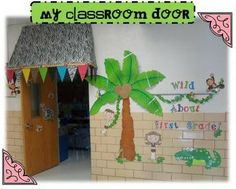 Classroom door, I would love to do this and have a beach theme. :)